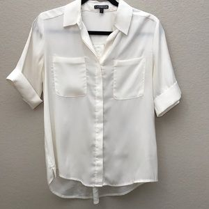 Express 3/4 Sleeve White Essential Shirt